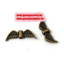 Angyalszárny, fém köztes gyöngy. 21.5x7.5x3mm. Antik bronz szín.