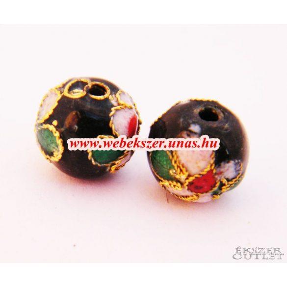 Cloisonne gyöngy. Rekesztűzzománc gyöngy. 10mm. Fekete.
