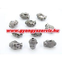 Buddha gyöngy, fém köztes gyöngy. Fekete szín. 10x13mm.