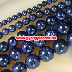 Ásványgyöngy, féldrágakő, ékszer gyöngy. Kék napkő. 12mm.