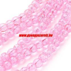 Roppantott üveggyöngy. 6mm, 8mm. Rózsaszín.
