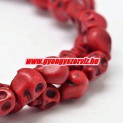 Türkiz koponya gyöngy. 8x7mm. Piros.