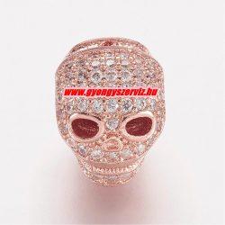Cirkon kristályos gyöngy.  Koponya. 11.5x9.5x11mm. Rózsaarany szín.