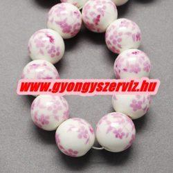 Porcelán ékszergyöngy. 8mm. Rózsaszín virág.
