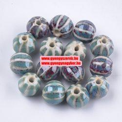 Porcelángyöngy. 11x11x10mm. Kadét kék.