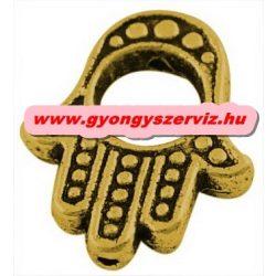 Gyöngykeret. Hamsa kéz gyöngy, köztes gyöngy. Fatime keze. Antik arany szín.