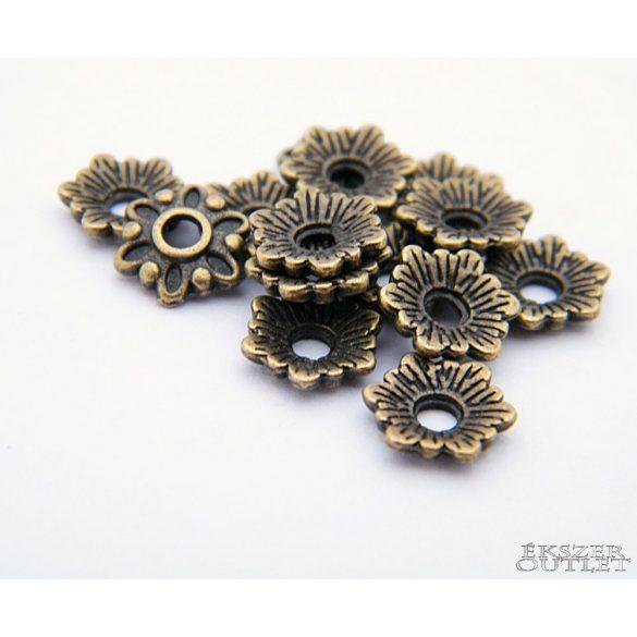 Gyöngykupak. Fém gyöngy. Virág.  8x2mm. Antik bronz. Leárazva!