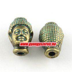 Buddha fej,fém köztes gyöngy. 13x9x8mm. Antik bronz, patina szín.