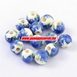Porcelán ékszergyöngy. 10mm. Kék virág.