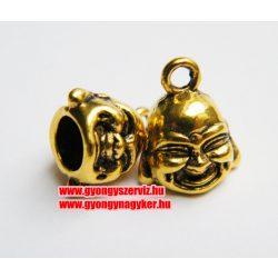 Mosolygó buddha medál, fityegő. Antik arany szín.
