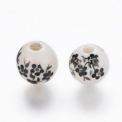 Porcelán ékszergyöngy. 10mm. Fekete virág.