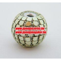 Indonéz gyöngy, bali gyöngy. 18x22mm. Metál lime.