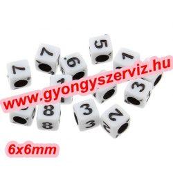 Műanyag szám  gyöngy. Akril gyöngy. 6x6mm, 7x7mm. Válassz számot és méretet! Leárazva !