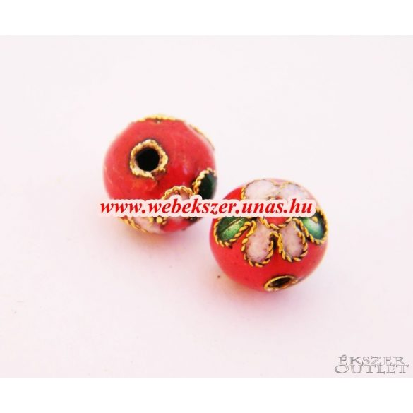 Cloisonne gyöngy. Rekesztűzzománc gyöngy. 10mm. Piros.