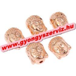 Buddha gyöngy, tibeti fém köztes gyöngy. Rózsaarany szín. 7.5x10x8mm.