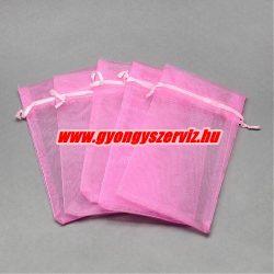 Organza tasak 12x9cm. Rózsaszín.