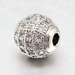 Cirkon köztes gyöngy. 8mm. platina szín, fehér kristály