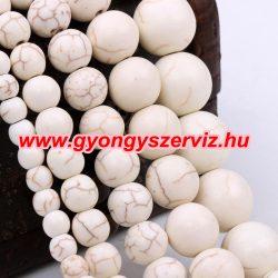 Ásványgyöngy, féldrágakő gyöngy. Fehér türkiz. 10 mm.