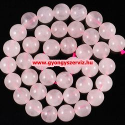 Ásványgyöngy, féldrágakő, ékszer gyöngy. Rózsakvarc. 12mm.