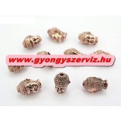 Buddha gyöngy, fém köztes gyöngy. Antik rózsaarany szín. 10x13mm.