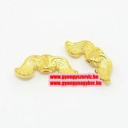 Angyalszárny, fém köztes gyöngy. 19x7.5x3.5mm. Arany szín.