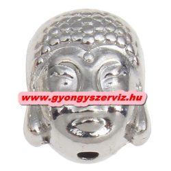 Buddha gyöngy, fém köztes gyöngy. Ezüst szín. 9x10x7.5mm.