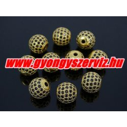 Cirkónia kristályos köztes gyöngy. 10mm. Arany szín, fekete kristály.