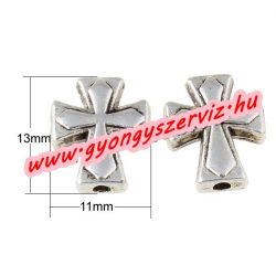 Kereszt Köztes gyöngy. 11x13x4mm. Antik ezüst szín.