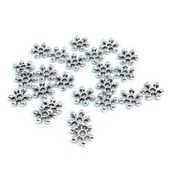 Hópehely köztes gyöngy. 7x1mm. Platina szín.