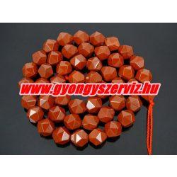 Vörös jáspis polygon ásványgyöngy. 8mm.