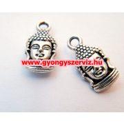 Buddha medál. Tibeti fém medál, fémgyöngy.  16x8mm.