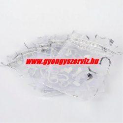 Organza tasak 12x10cm. Fehér.1db, vagy 10db/csomag.