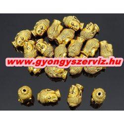 Buddha gyöngy, fém köztes gyöngy. Antik arany szín.10x13mm.