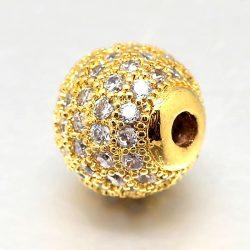 Cirkon köztes gyöngy. 8mm. Arany szín, fehér kristály.