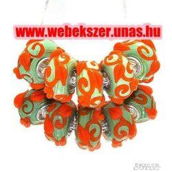 Pandora stílusú üveg gyöngy. Lámpagyöngy. Zöld, narancs. Leárazva!
