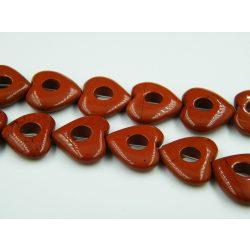 Ásványgyöngy szív gyöngykeret. Vörös jáspis. 20x5mm.
