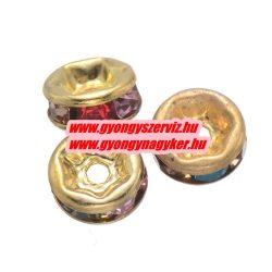 Rondell. Strasszos köztes gyöngy, rondella. 6mm. Arany, szívárvány. AAA.