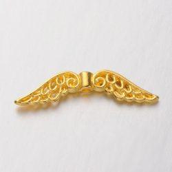 Angyalszárny, fém köztes gyöngy. 32x7x3mm. Arany szín.