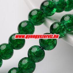 Roppantott üveggyöngy. 6mm, 8mm. Smaragd zöld.