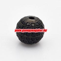 Cirkon köztes gyöngy. 12mm. Fekete szín.