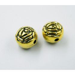 Rózsa. Fém köztes gyöngy. 9x9.5x8mm. Antik arany szín.