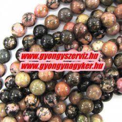 Ásványgyöngy, féldrágakő, ékszer gyöngy. Rodonit. 12mm.