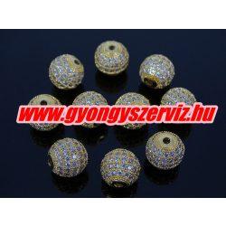Cirkónia kristályos köztes gyöngy. 10mm. Arany szín, fehér kristály.