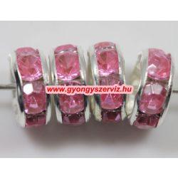 Strasszos kösztes gyöngy, rondell. 8x3.5mm. Pink