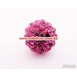 Shamballa gyöngy. Kristály gyöngy. 12mm.  Pink. Leárazva!