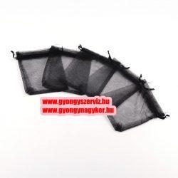 Organza tasak. 9x12cm. Fekete.1db, vagy 10db/csomag.