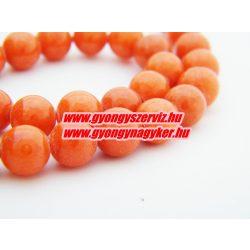 Jade ásványgyöngy. 8mm. Sötét narancs. AAA.