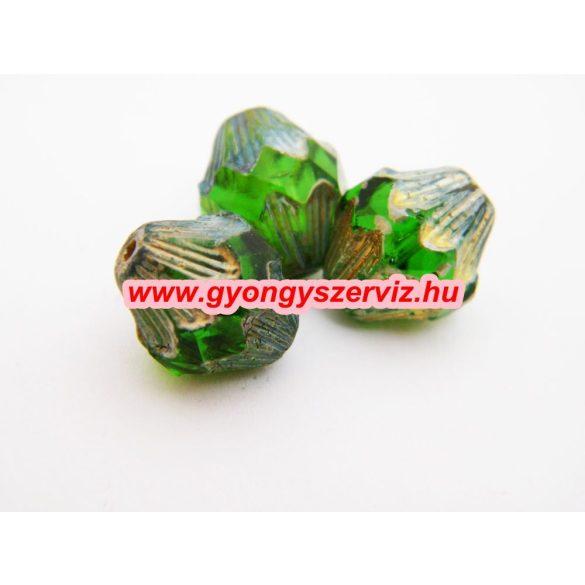 Cseh csiszolt gyöngy. Zöld. 15x13mm. Leárazva!