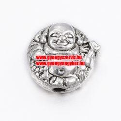 Fém, buddha köztes gyöngy. 10x5mm.