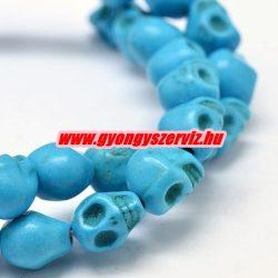 Türkiz koponya gyöngy. 8x7mm. Kék.